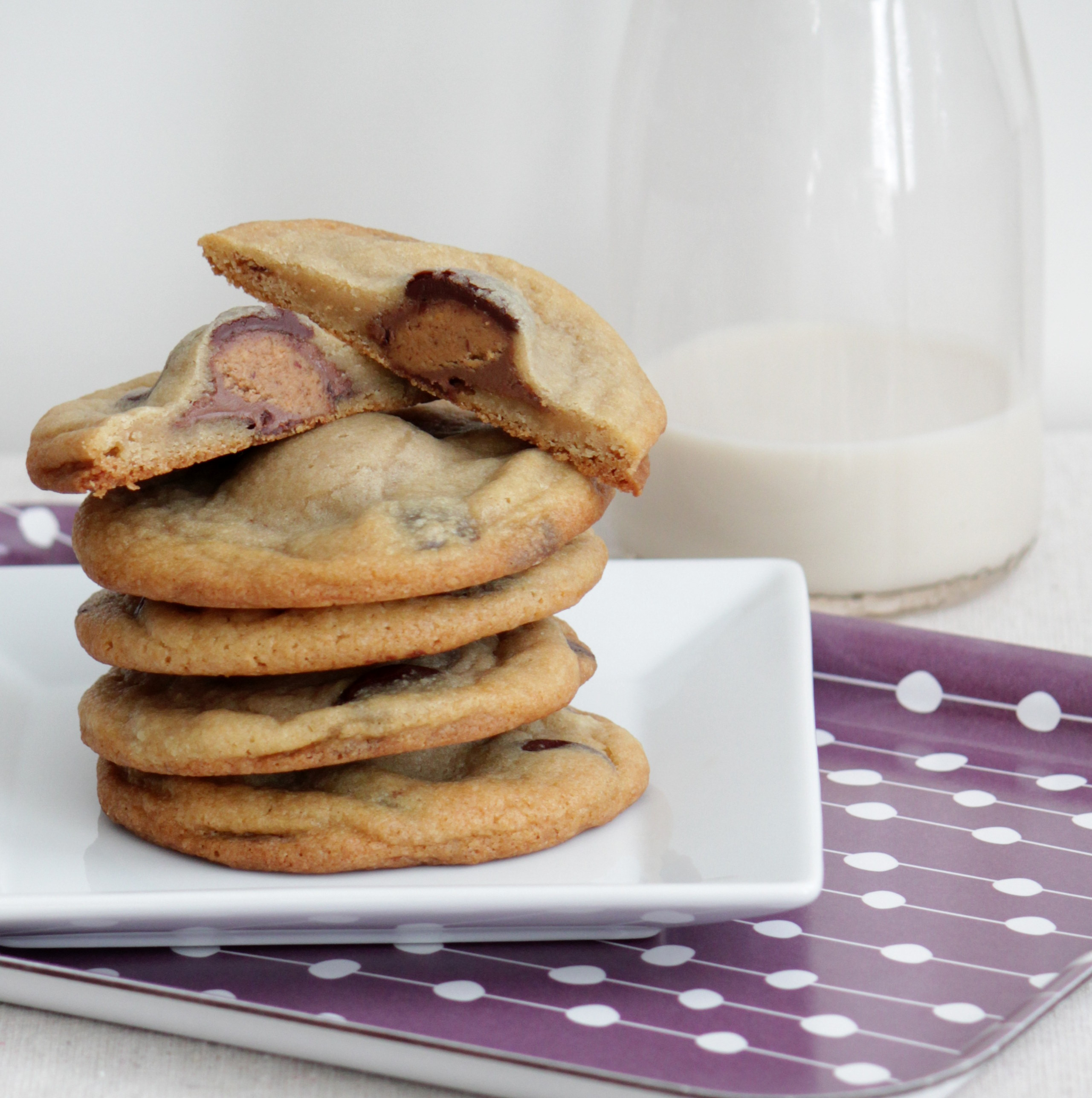 Reese's Cup Stuffed Chocolate Chip Cookies | Baking with Basil